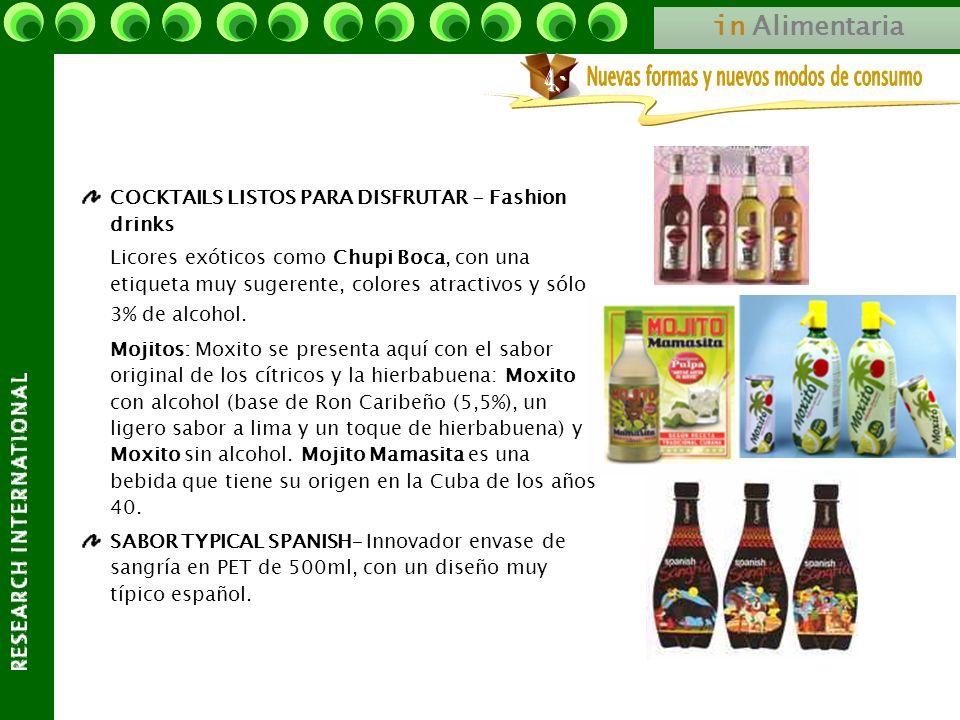 in Alimentaria COCKTAILS LISTOS PARA DISFRUTAR - Fashion drinks Licores exóticos como Chupi Boca, con una etiqueta muy sugerente, colores atractivos y