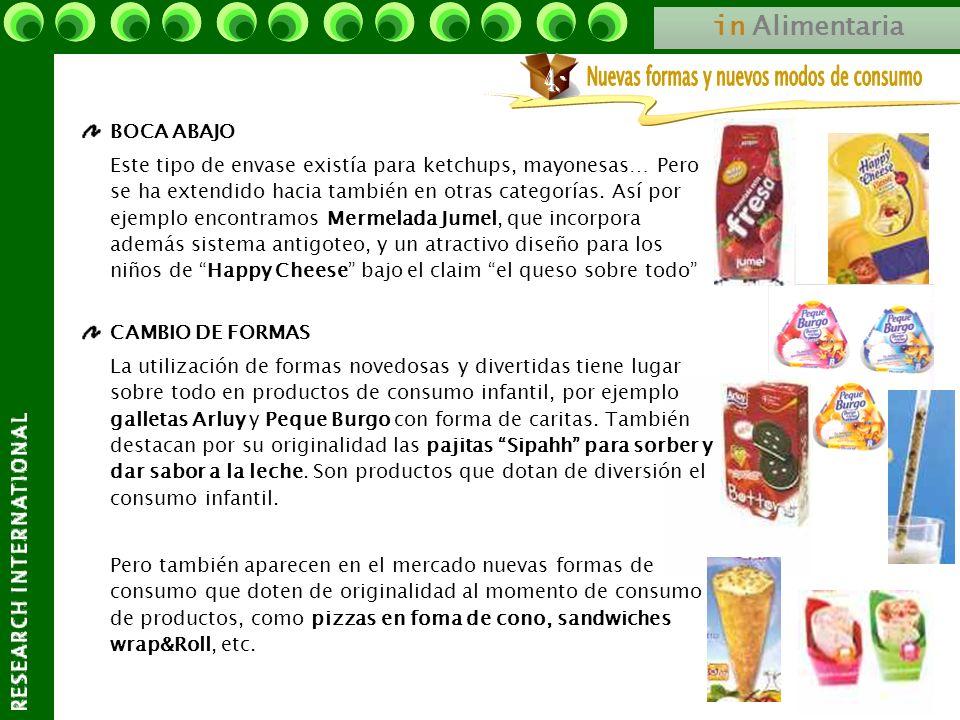 in Alimentaria BOCA ABAJO Este tipo de envase existía para ketchups, mayonesas… Pero se ha extendido hacia también en otras categorías. Así por ejempl