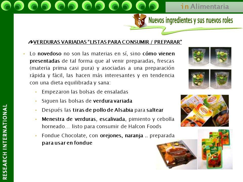 in Alimentaria VERDURAS VARIADAS LISTAS PARA CONSUMIR / PREPARAR Lo novedoso no son las materias en sí, sino cómo vienen presentadas de tal forma que