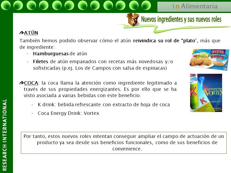 in Alimentaria COCA: la coca llama la atención como ingrediente legitimado a través de sus propiedades energizantes. Es por ello que se ha visto asoci