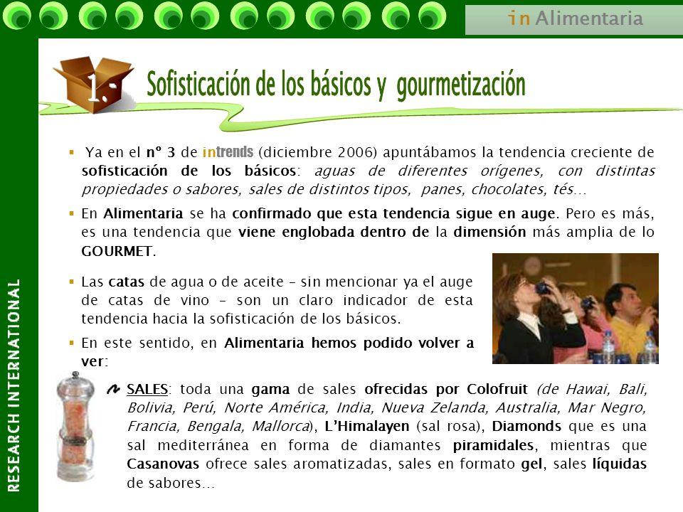 in Alimentaria Ya en el nº 3 de in trends (diciembre 2006) apuntábamos la tendencia creciente de sofisticación de los básicos: aguas de diferentes orí