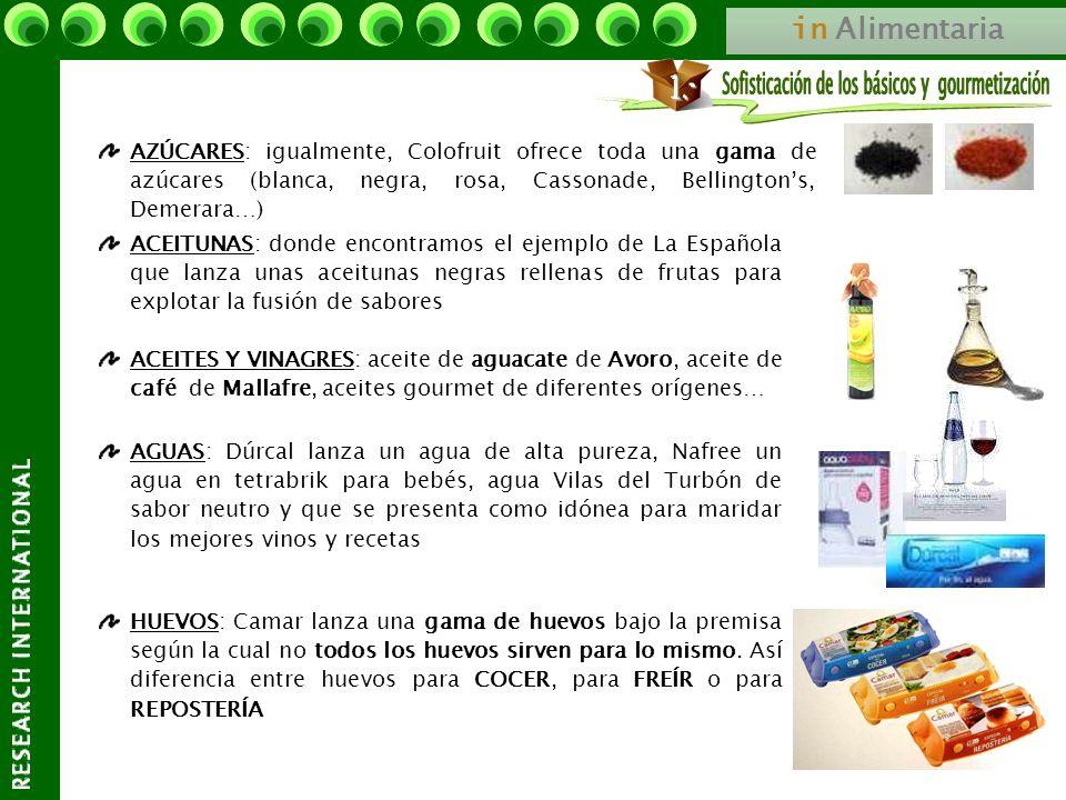 in Alimentaria AZÚCARES: igualmente, Colofruit ofrece toda una gama de azúcares (blanca, negra, rosa, Cassonade, Bellingtons, Demerara…) ACEITES Y VIN
