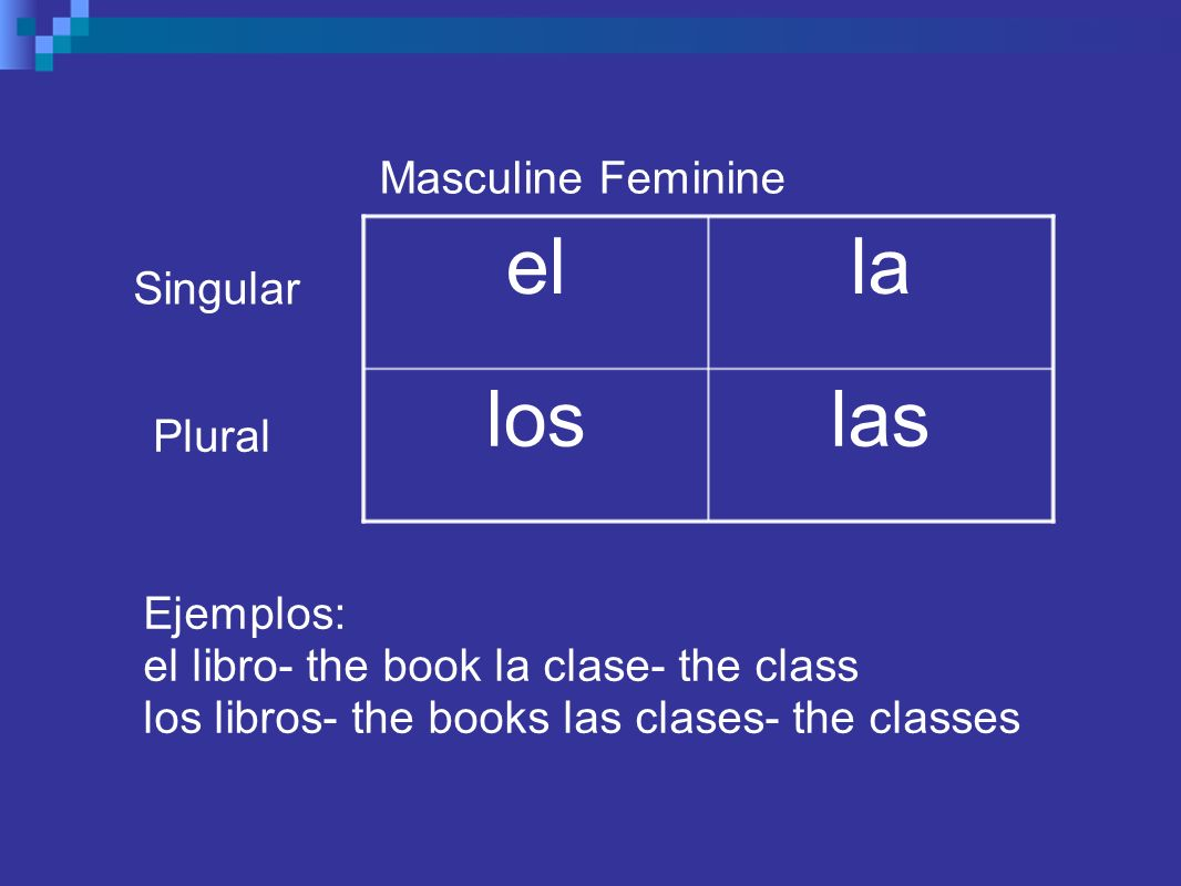 Masculine Feminine laslos lael Singular Plural Ejemplos: el libro- the book la clase- the class los libros- the books las clases- the classes