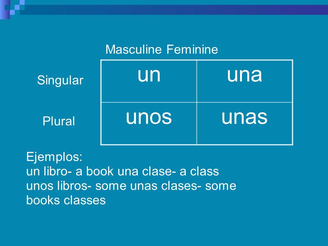 Masculine Feminine unasunos unaun Singular Plural Ejemplos: un libro- a book una clase- a class unos libros- some unas clases- some books classes