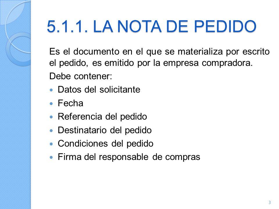 5.1.1. LA NOTA DE PEDIDO Es el documento en el que se materializa por escrito el pedido, es emitido por la empresa compradora. Debe contener: Datos de