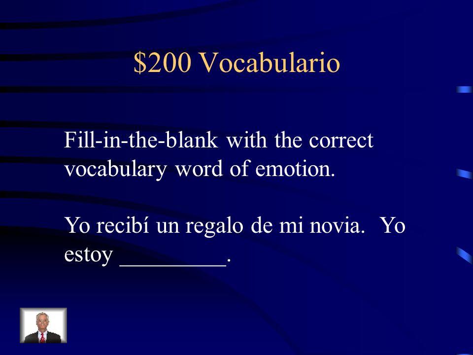 $100 Vocabulario triste preocupado deprimido