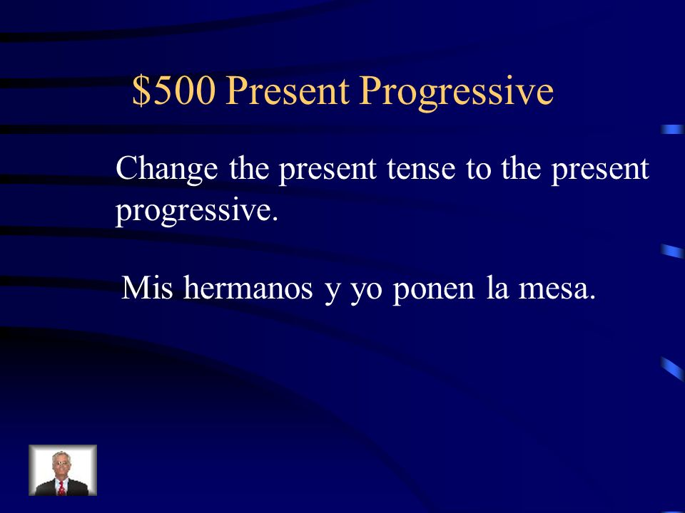 $400 Present Progressive Yo estoy llamando a los invitados.