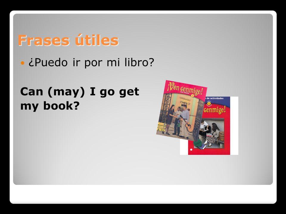 Frases útiles ¿Puedo ir por mi libro? Can (may) I go get my book?