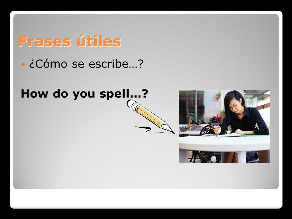 Frases útiles ¿Cómo se escribe…? How do you spell…?