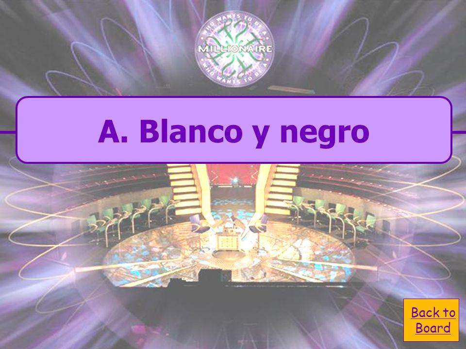 A. Blanco y negro C. Rojo y azul B. Negro y gris D. Verde y amarillo ¿Qué color es un dalmation en español?