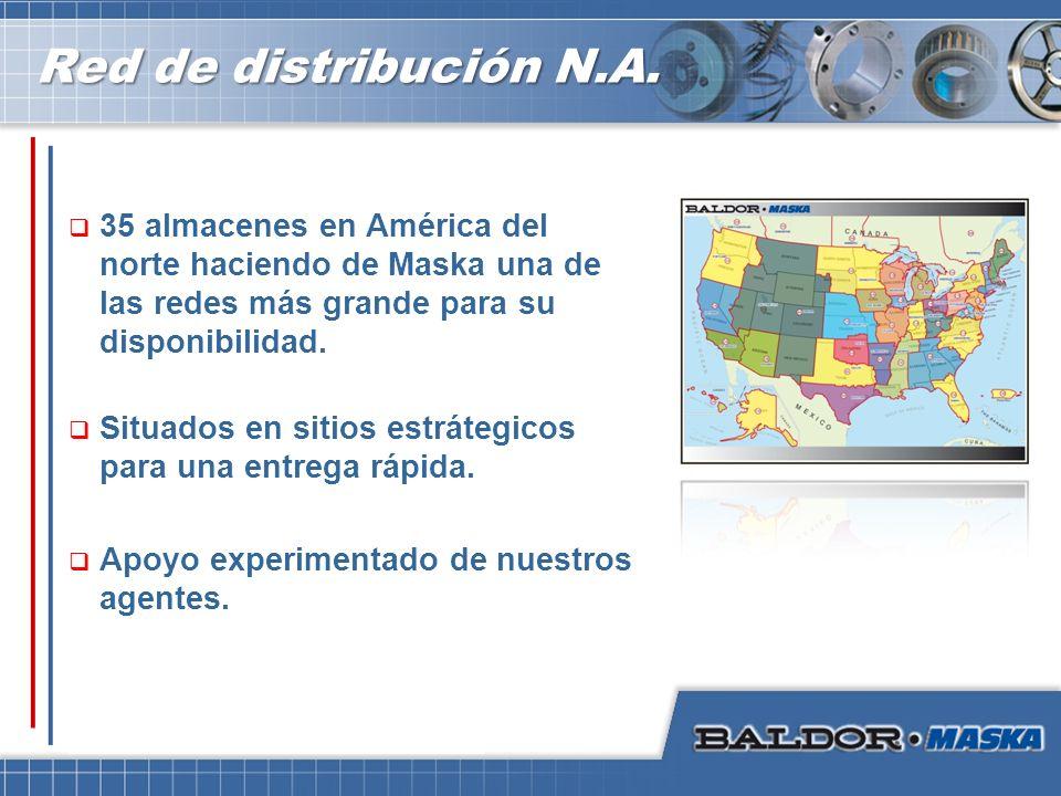 Red de distribución N.A. 35 almacenes en América del norte haciendo de Maska una de las redes más grande para su disponibilidad. Situados en sitios es