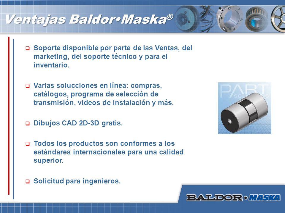 Ventajas BaldorMaska ® Soporte disponible por parte de las Ventas, del marketing, del soporte técnico y para el inventario. Varias solucciones en líne