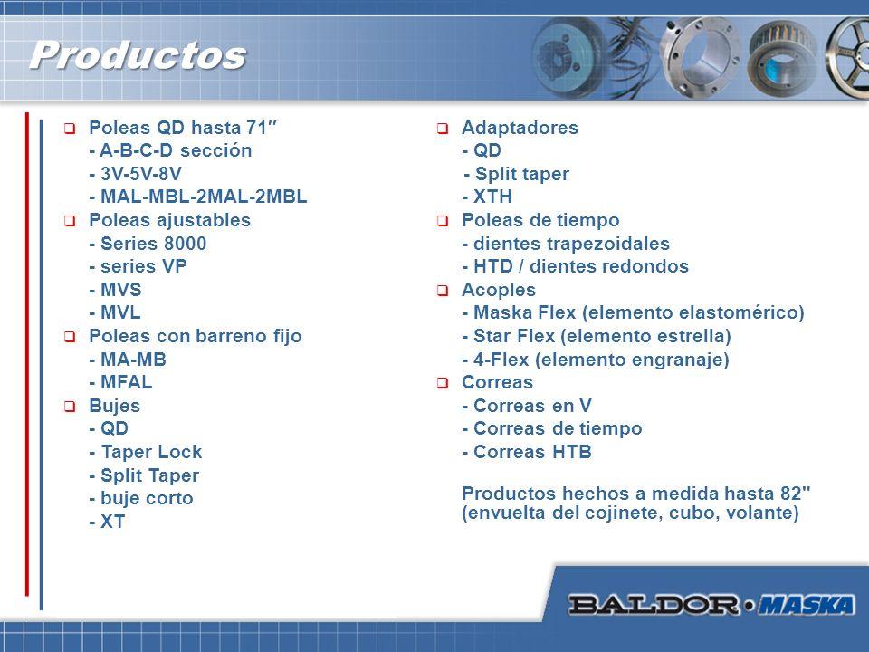 ProductosProductos Poleas QD hasta 71 - A-B-C-D sección - 3V-5V-8V - MAL-MBL-2MAL-2MBL Poleas ajustables - Series 8000 - series VP - MVS - MVL Poleas