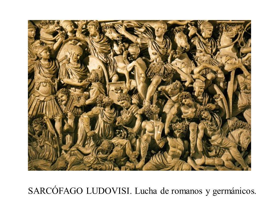 SARCÓFAGO LUDOVISI. Lucha de romanos y germánicos.