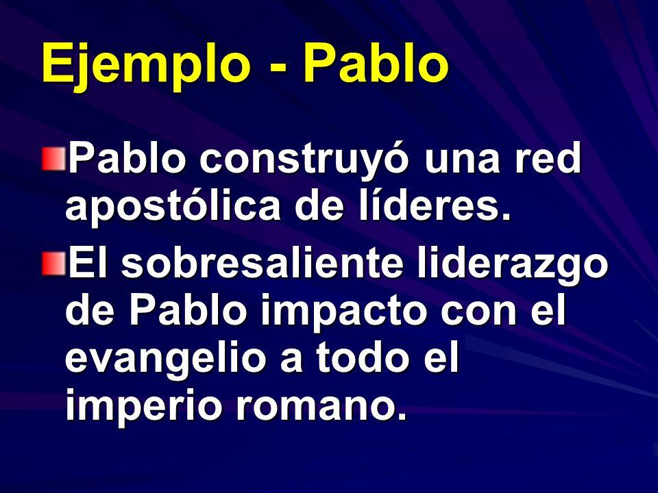 Ejemplo - Pablo Pablo construyó una red apostólica de líderes. El sobresaliente liderazgo de Pablo impacto con el evangelio a todo el imperio romano.