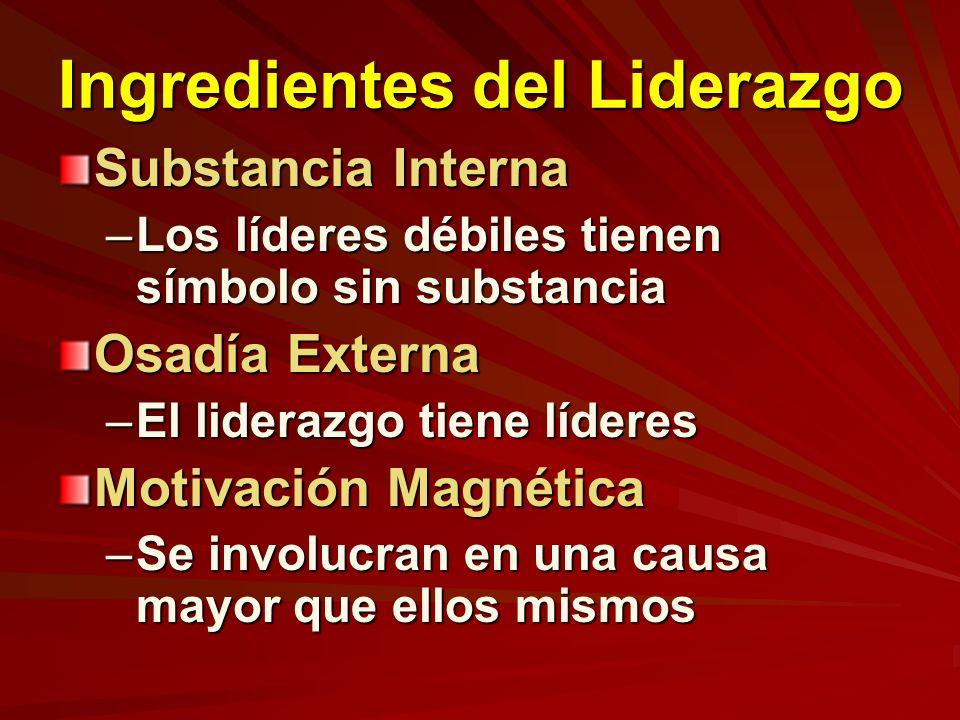 Ingredientes del Liderazgo Substancia Interna –Los líderes débiles tienen símbolo sin substancia Osadía Externa –El liderazgo tiene líderes Motivación