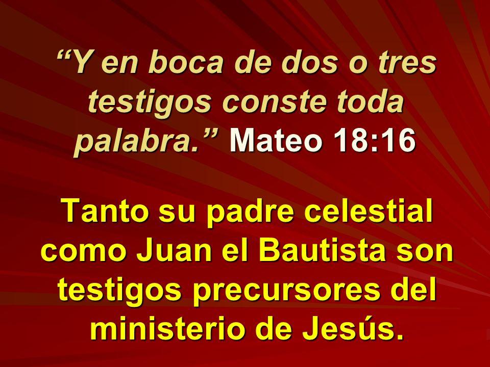 Y en boca de dos o tres testigos conste toda palabra. Mateo 18:16 Tanto su padre celestial como Juan el Bautista son testigos precursores del minister