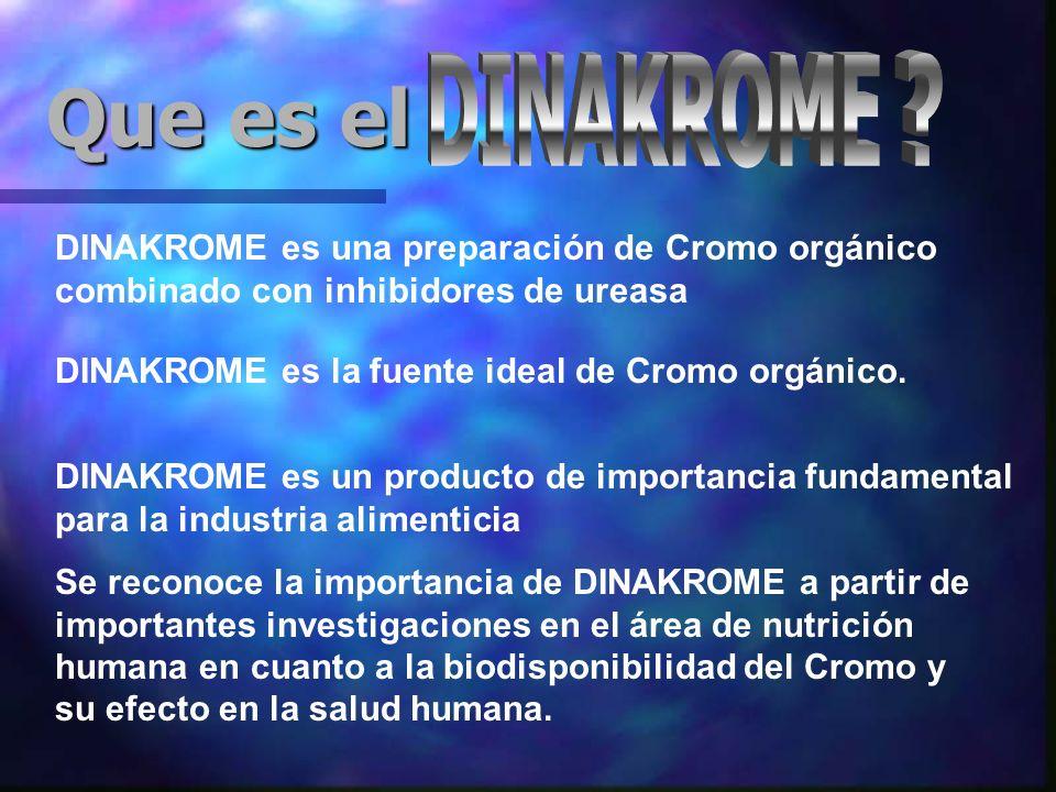 DINAKROME es una preparación de Cromo orgánico combinado con inhibidores de ureasa Que es el DINAKROME es la fuente ideal de Cromo orgánico.