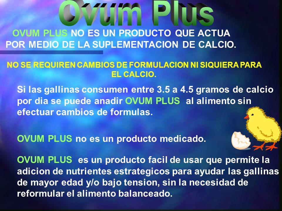 OVUM PLUS es un producto facil de usar que permite la adicion de nutrientes estrategicos para ayudar las gallinas de mayor edad y/o bajo tension, sin