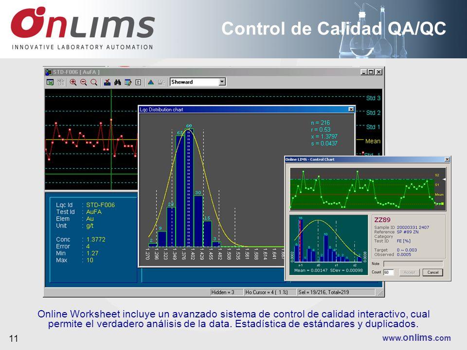 www. onlims.com 11 Control de Calidad QA/QC Online Worksheet incluye un avanzado sistema de control de calidad interactivo, cual permite el verdadero