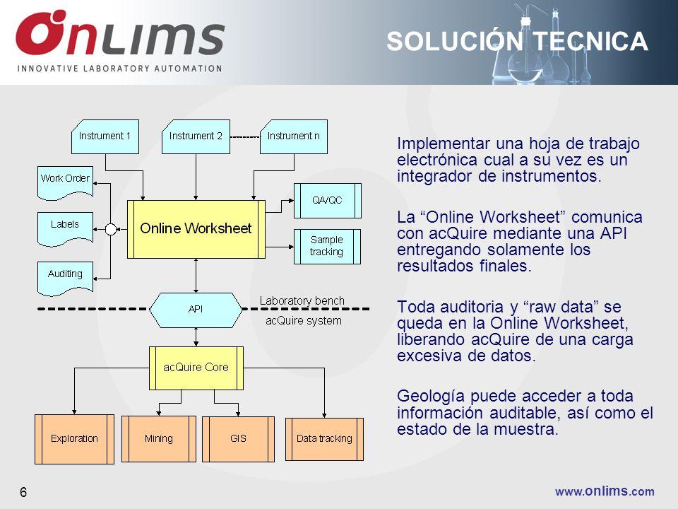 www. onlims.com 6 SOLUCIÓN TECNICA Implementar una hoja de trabajo electrónica cual a su vez es un integrador de instrumentos. La Online Worksheet com