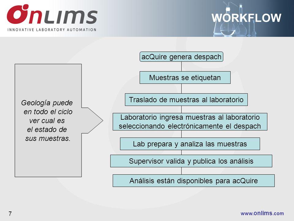www. onlims.com 7 WORKFLOW acQuire genera despach Muestras se etiquetan Traslado de muestras al laboratorio Laboratorio ingresa muestras al laboratori