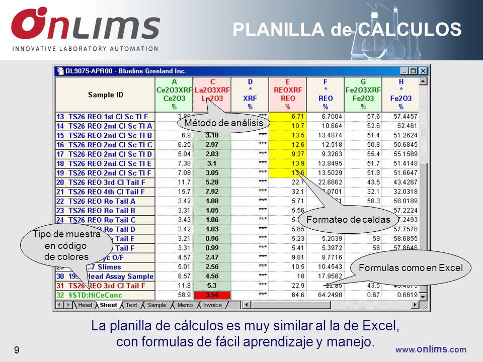 www. onlims.com 9 PLANILLA de CALCULOS La planilla de cálculos es muy similar al la de Excel, con formulas de fácil aprendizaje y manejo. Tipo de mues