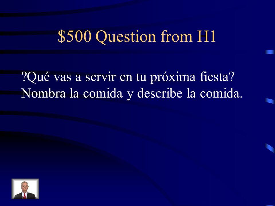 $400 Answer from H1 El desayuno