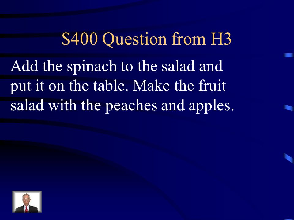 $300 Answer from H3 Mezcla las verduras y calienta la sopa.