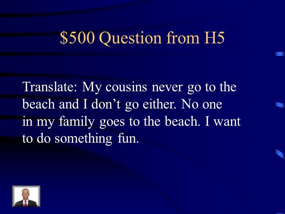 $400 Answer from H5 No me gusta ir al centro comercial. A mí tampoco/a mí no me gusta ir al centro comercial tampoco.