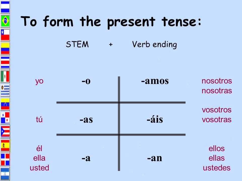 Every verb has 2 parts: Hablar= habl- Practicar= practic- Estudiar= estudi- Trabajar= trabaj- Cocinar= cocin- STEM+ENDING Mirar= mir- Escuchar= escuch