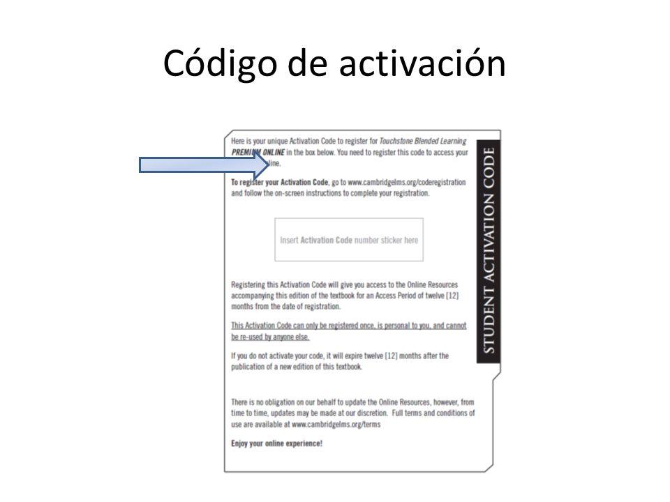Código de activación