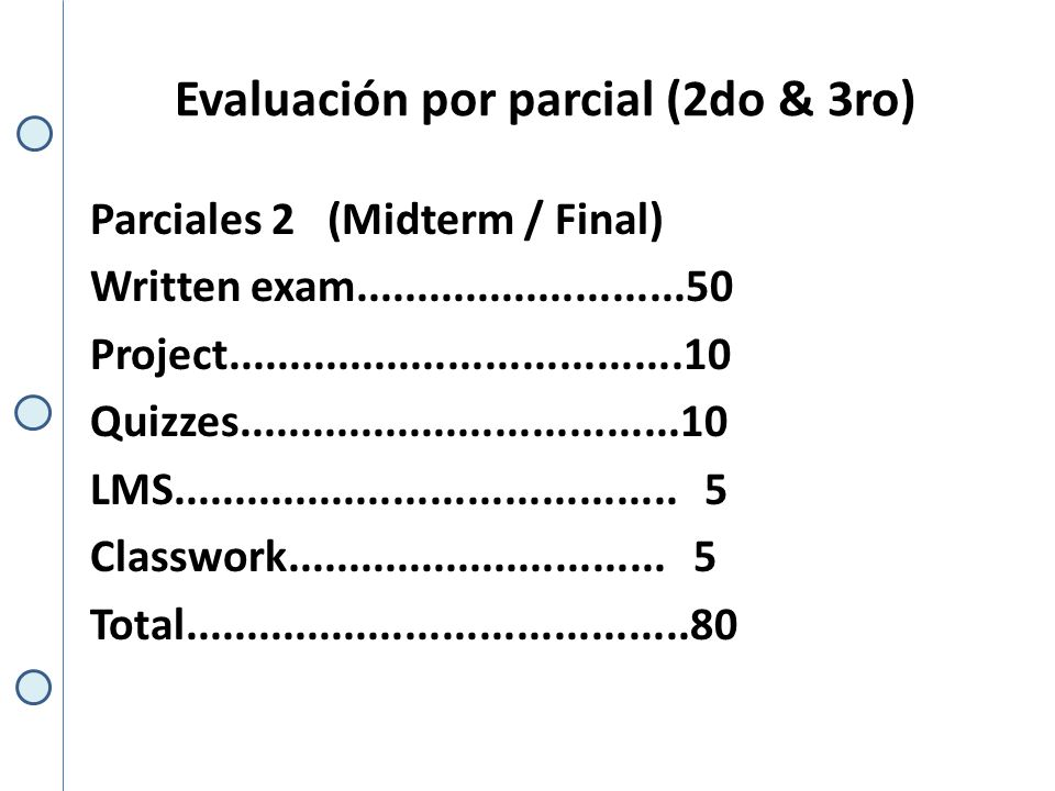 Evaluación por parcial (2do & 3ro) Parciales 2 (Midterm / Final) Written exam...........................50 Project.....................................10 Quizzes....................................10 LMS.........................................