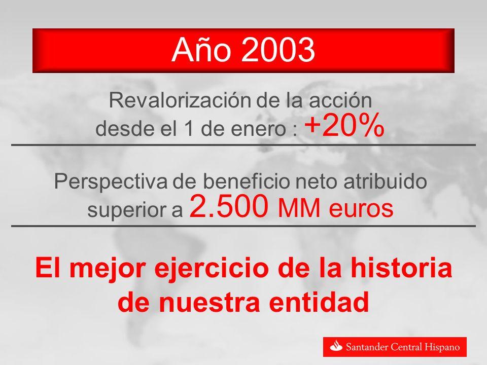 Año 2003 Revalorización de la acción desde el 1 de enero : +20% Perspectiva de beneficio neto atribuido superior a 2.500 MM euros El mejor ejercicio de la historia de nuestra entidad