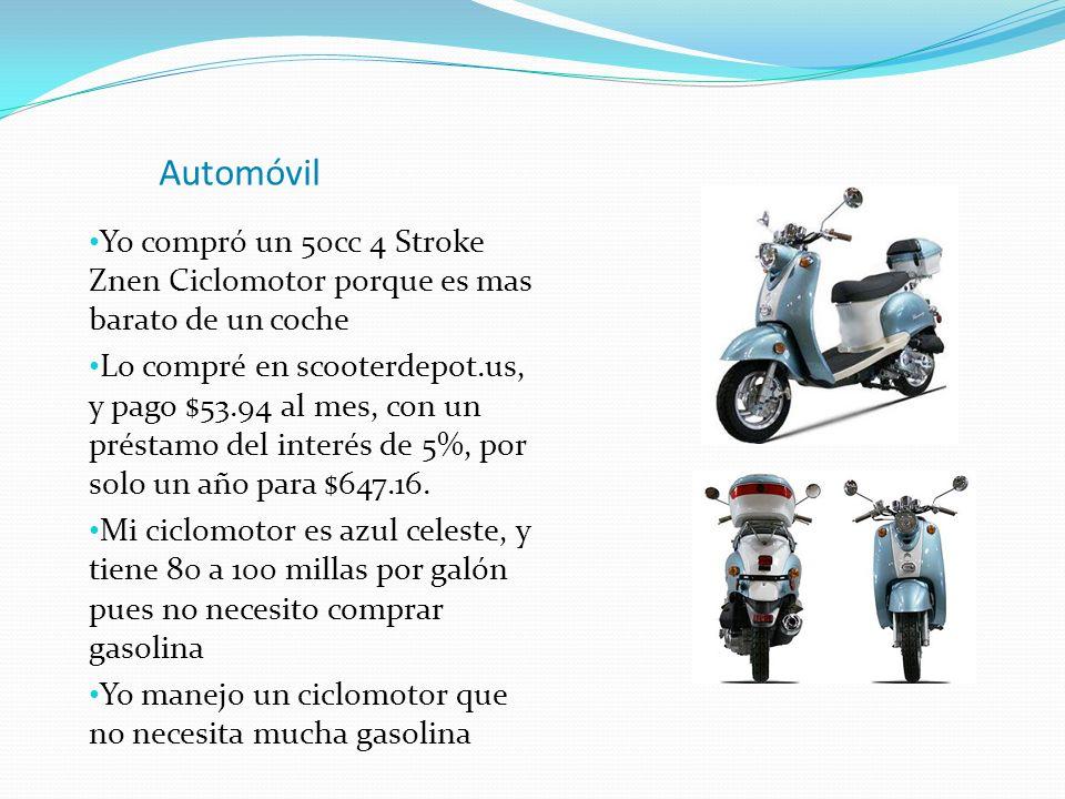 Automóvil Yo compró un 50cc 4 Stroke Znen Ciclomotor porque es mas barato de un coche Lo compré en scooterdepot.us, y pago $53.94 al mes, con un prést