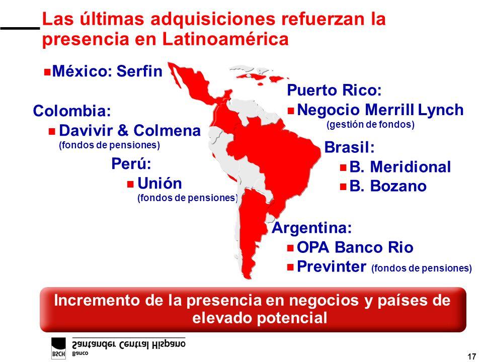 17 Incremento de la presencia en negocios y países de elevado potencial Colombia: n Davivir & Colmena (fondos de pensiones) Puerto Rico: n Negocio Mer