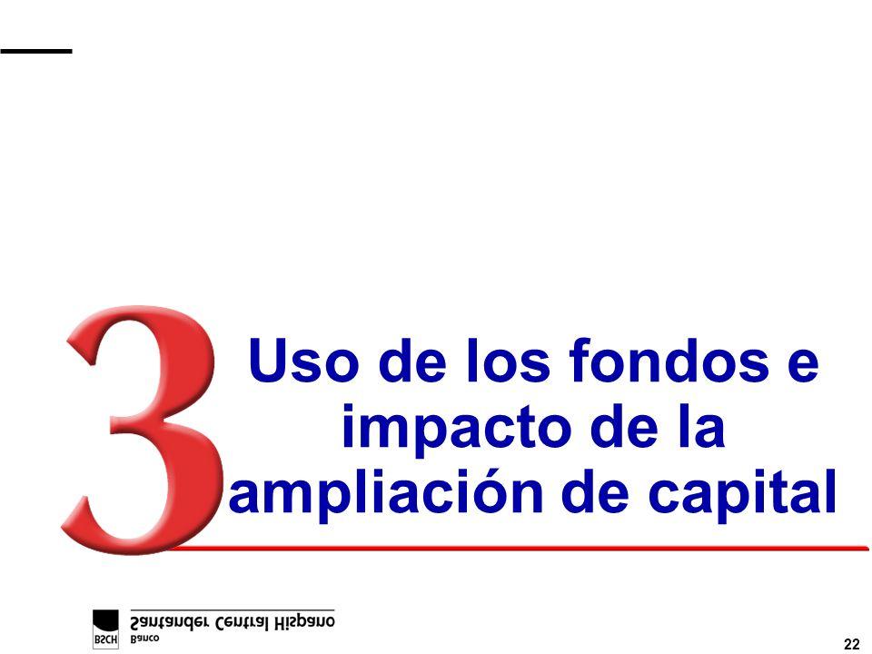 22 Uso de los fondos e impacto de la ampliación de capital