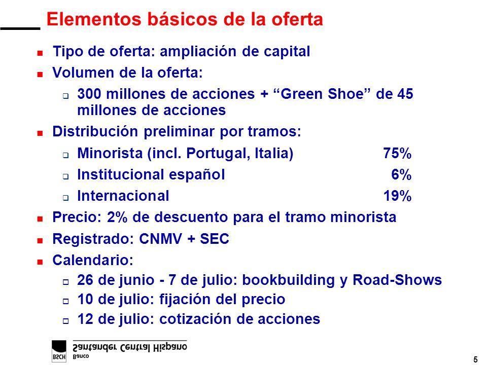 5 Elementos básicos de la oferta n Tipo de oferta: ampliación de capital n Volumen de la oferta: q 300 millones de acciones + Green Shoe de 45 millone