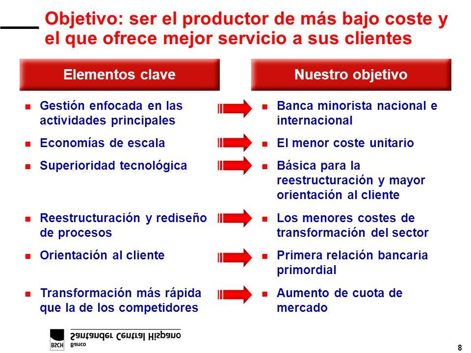 8 Objetivo: ser el productor de más bajo coste y el que ofrece mejor servicio a sus clientes Elementos claveNuestro objetivo n Gestión enfocada en las