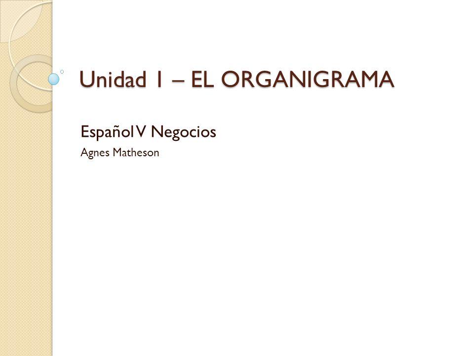 Unidad 1 – EL ORGANIGRAMA Español V Negocios Agnes Matheson