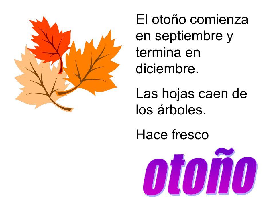 El otoño comienza en septiembre y termina en diciembre. Las hojas caen de los árboles. Hace fresco