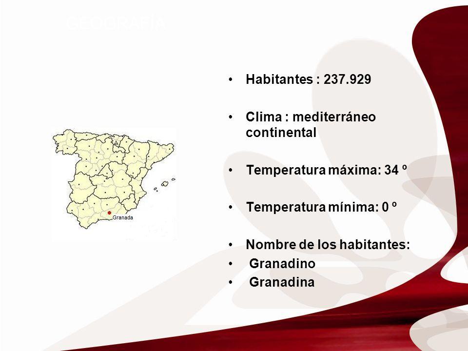 GEOGRAFÍA Habitantes : 237.929 Clima : mediterráneo continental Temperatura máxima: 34 º Temperatura mínima: 0 º Nombre de los habitantes: Granadino Granadina