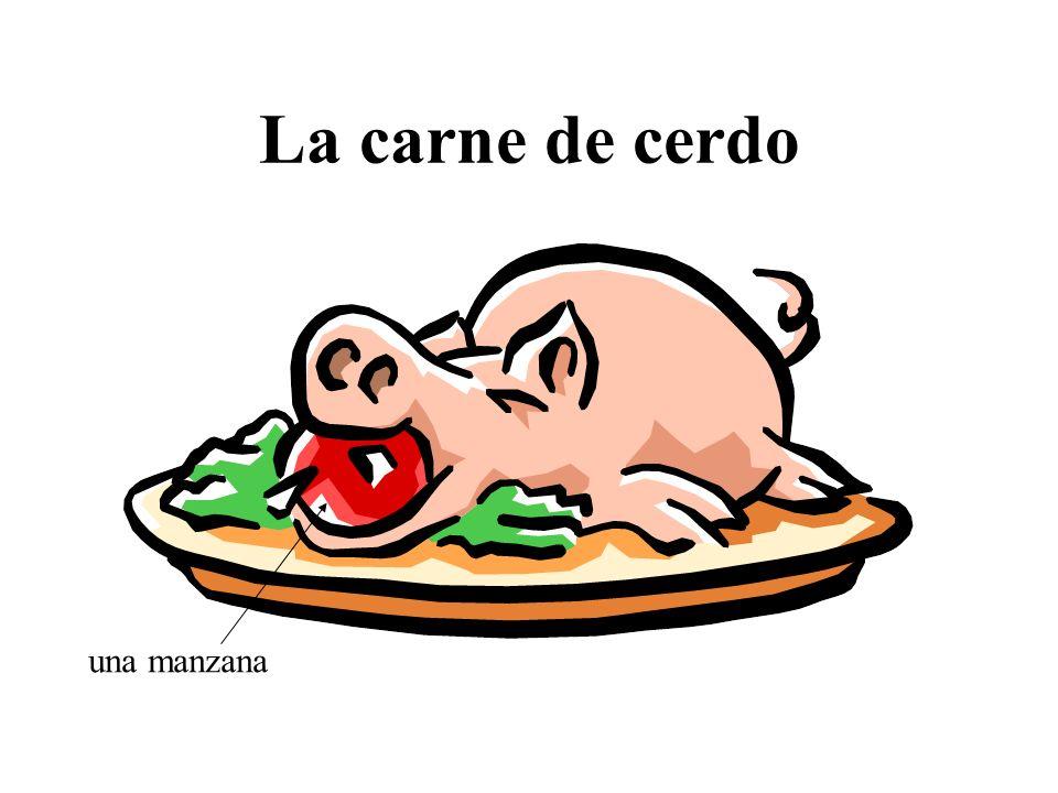 La carne de cerdo una manzana