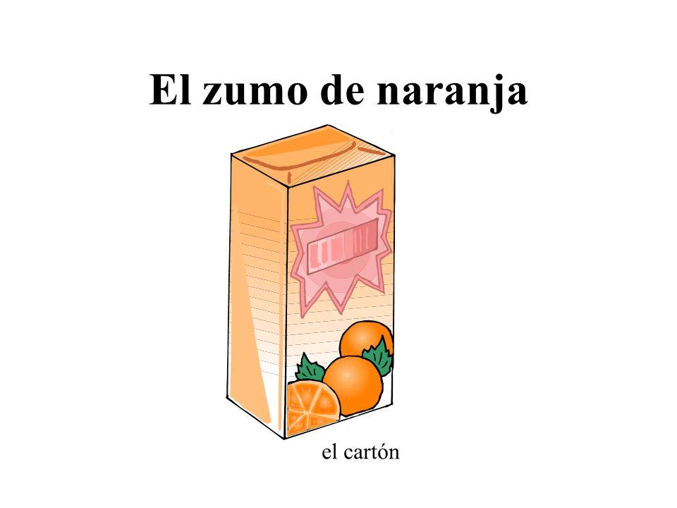 El zumo de naranja el cartón