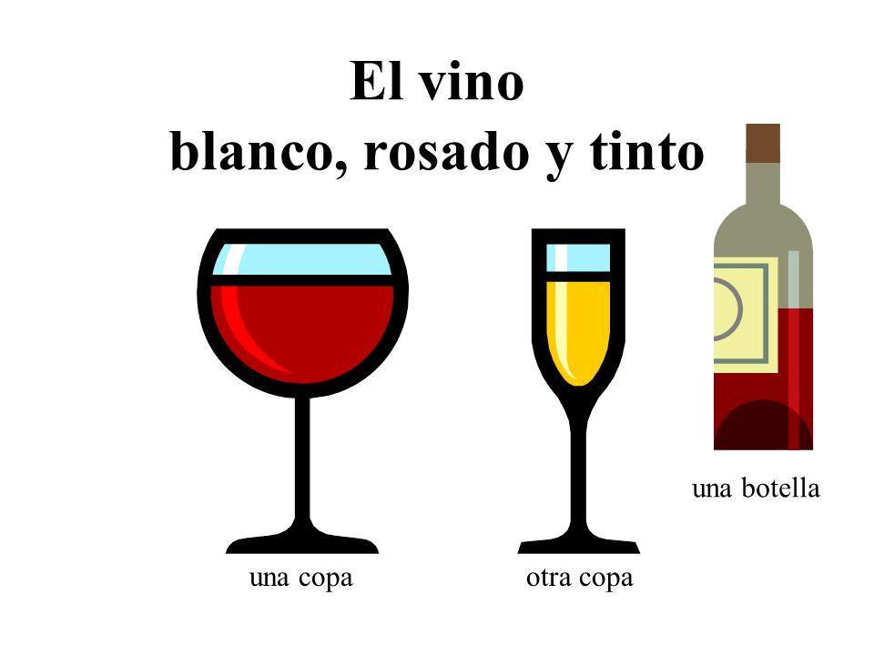 El vino blanco, rosado y tinto una copaotra copa una botella