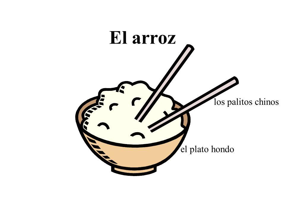 El arroz el plato hondo los palitos chinos