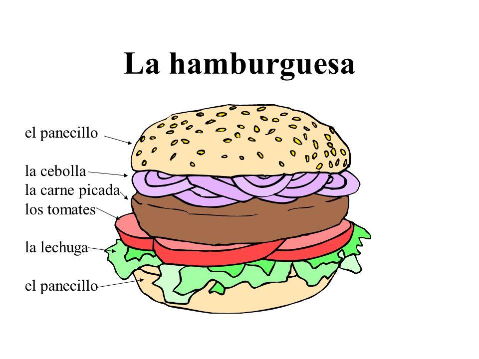 La hamburguesa el panecillo la cebolla la carne picada los tomates la lechuga el panecillo