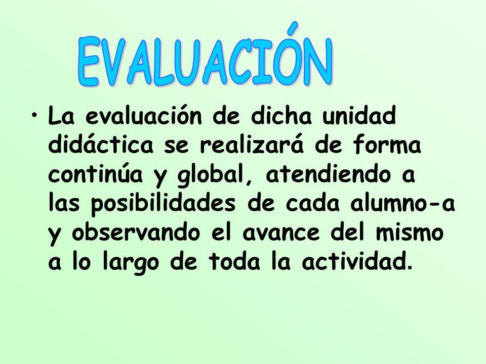 La evaluación de dicha unidad didáctica se realizará de forma continúa y global, atendiendo a las posibilidades de cada alumno-a y observando el avanc