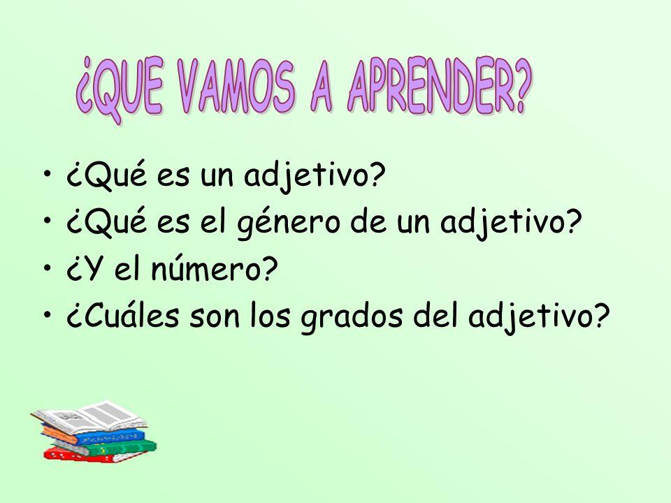 ¿Qué es un adjetivo? ¿Qué es el género de un adjetivo? ¿Y el número? ¿Cuáles son los grados del adjetivo?
