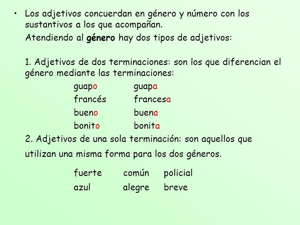 Los adjetivos concuerdan en género y número con los sustantivos a los que acompañan. Atendiendo al género hay dos tipos de adjetivos: 1. Adjetivos de